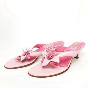 Lilly Pulitzer Pink Floral Kitten Heel Thong Sanda